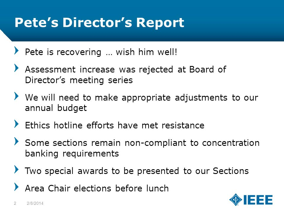 12-CRS-0106 12/12 Petes Directors Report Pete is recovering … wish him well! Assessment increase was rejected at Board of Directors meeting series We