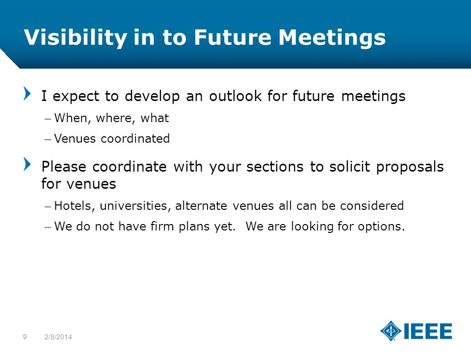 12-CRS-0106 12/12 Visibility in to Future Meetings I expect to develop an outlook for future meetings –When, where, what –Venues coordinated Please co