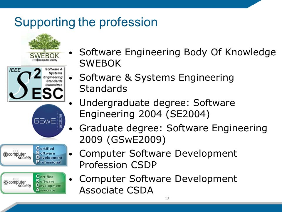 15 Supporting the profession Software Engineering Body Of Knowledge SWEBOK Software & Systems Engineering Standards Undergraduate degree: Software Engineering 2004 (SE2004) Graduate degree: Software Engineering 2009 (GSwE2009) Computer Software Development Profession CSDP Computer Software Development Associate CSDA
