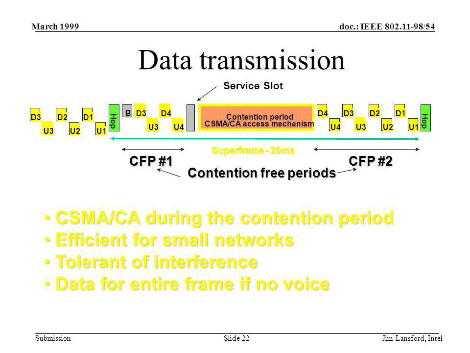 doc.: IEEE 802.11-98/54 Submission March 1999 Jim Lansford, IntelSlide 22 Data transmission CSMA/CA during the contention period CSMA/CA during the contention period Efficient for small networks Efficient for small networks Tolerant of interference Tolerant of interference Data for entire frame if no voice Data for entire frame if no voice Service Slot Contention period CSMA/CA access mechanism Hop Superframe - 20ms BD3D4 U3U4 D4 U4 D2 U3 D3 U2 D1 U1 Hop D2 U3 D3 U2 D1 U1 CFP #2 CFP #1 Contention free periods