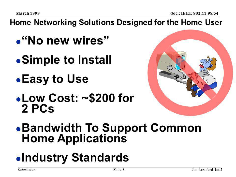 doc.: IEEE 802.11-98/54 Submission March 1999 Jim Lansford, IntelSlide 3 l No new wires l Simple to Install l Easy to Use l Low Cost: ~$200 for 2 PCs