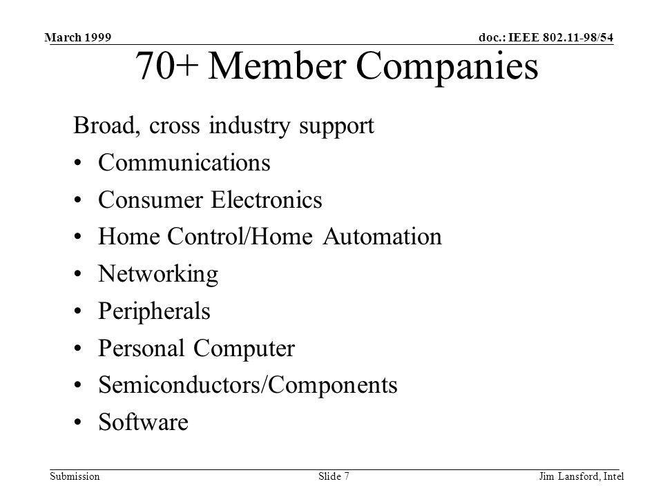 doc.: IEEE 802.11-98/54 Submission March 1999 Jim Lansford, IntelSlide 7 Broad, cross industry support Communications Consumer Electronics Home Contro