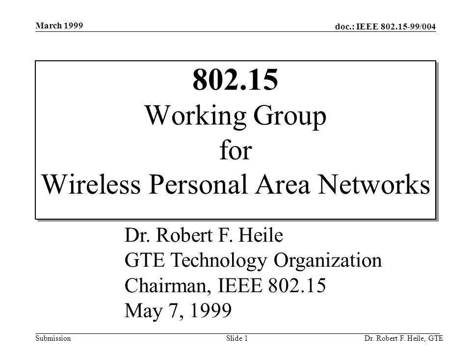 doc.: IEEE 802.15-99/004 Submission March 1999 Dr. Robert F. Heile, GTESlide 1 802.15 Working Group for Wireless Personal Area Networks Dr. Robert F.