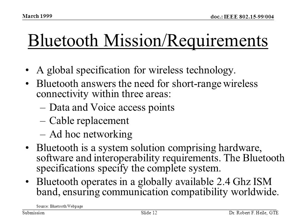 doc.: IEEE 802.15-99/004 Submission March 1999 Dr.