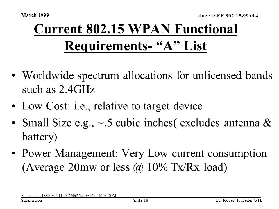 doc.: IEEE 802.15-99/004 Submission March 1999 Dr. Robert F. Heile, GTESlide 18 Current 802.15 WPAN Functional Requirements- A List Worldwide spectrum
