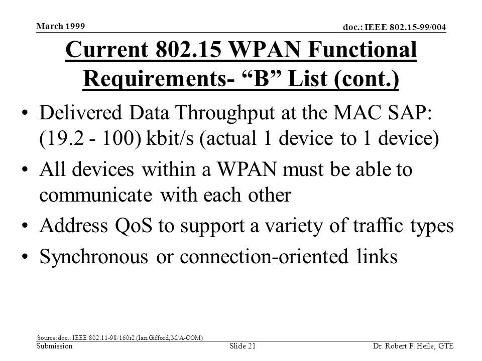 doc.: IEEE 802.15-99/004 Submission March 1999 Dr. Robert F. Heile, GTESlide 21 Delivered Data Throughput at the MAC SAP: (19.2 - 100) kbit/s (actual
