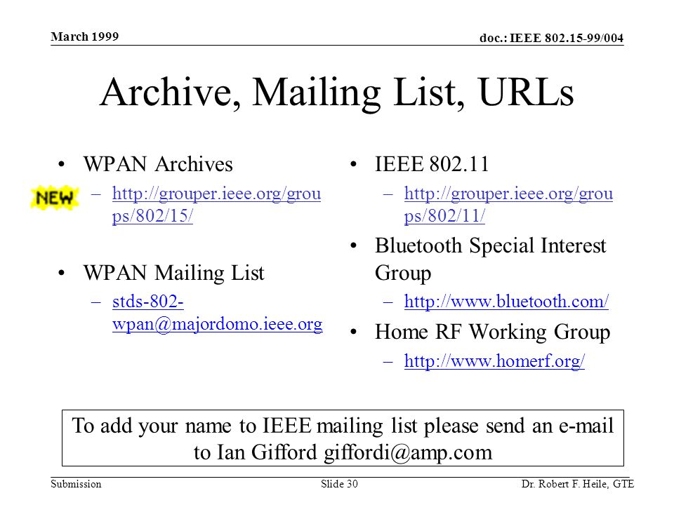 doc.: IEEE 802.15-99/004 Submission March 1999 Dr. Robert F. Heile, GTESlide 30 Archive, Mailing List, URLs WPAN Archives –http://grouper.ieee.org/gro