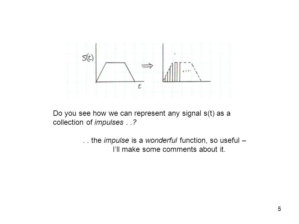 5 Do you see how we can represent any signal s(t) as a collection of impulses..?.. the impulse is a wonderful function, so useful – Ill make some comm