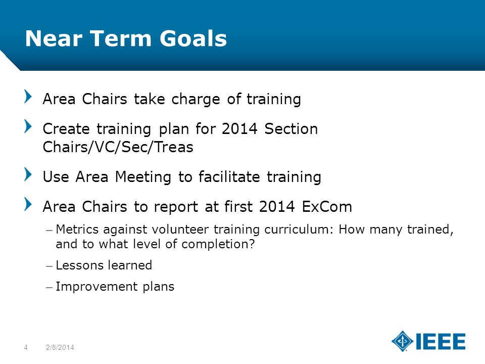 12-CRS-0106 12/12 Near Term Goals Area Chairs take charge of training Create training plan for 2014 Section Chairs/VC/Sec/Treas Use Area Meeting to facilitate training Area Chairs to report at first 2014 ExCom –Metrics against volunteer training curriculum: How many trained, and to what level of completion.