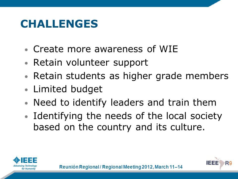 Reunión Regional / Regional Meeting 2012, March 11–14 CHALLENGES Create more awareness of WIE Retain volunteer support Retain students as higher grade