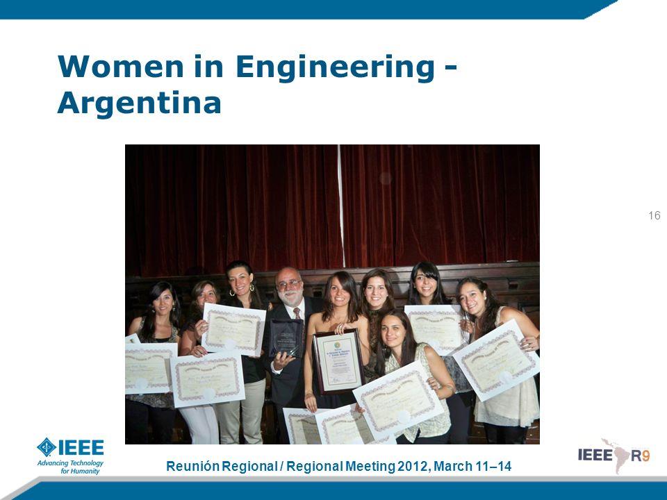 Reunión Regional / Regional Meeting 2012, March 11–14 Women in Engineering - Argentina 16