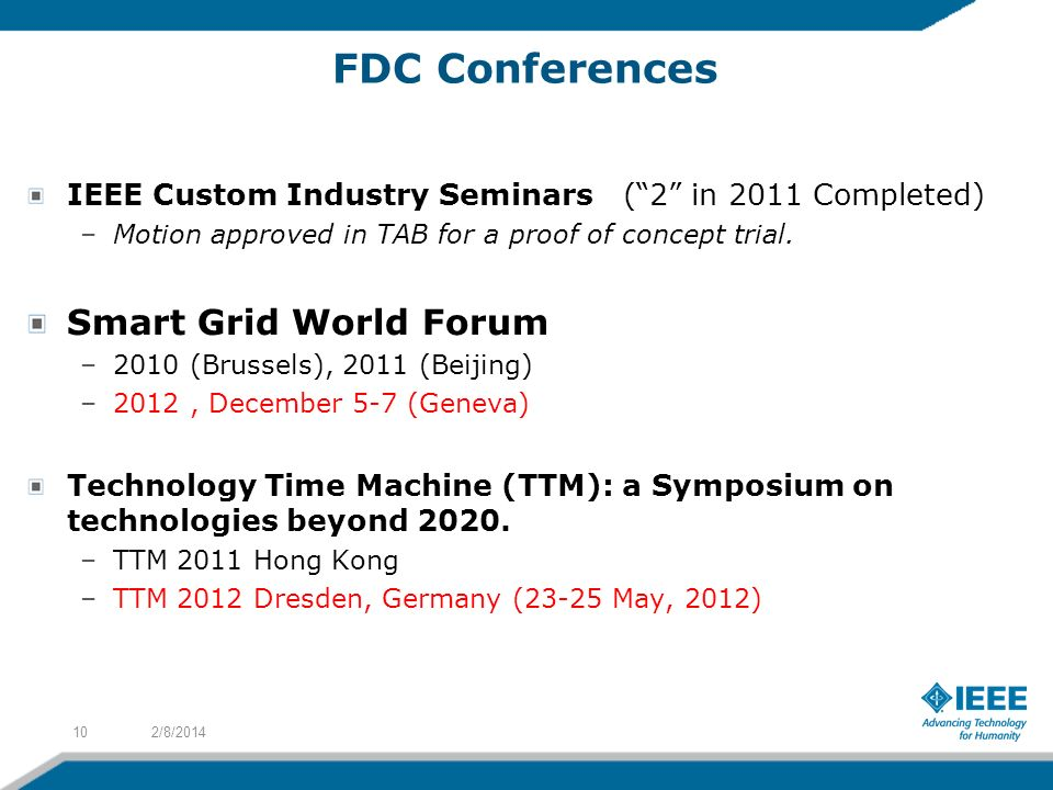 FDC Conferences IEEE Custom Industry Seminars (2 in 2011 Completed) –Motion approved in TAB for a proof of concept trial. Smart Grid World Forum –2010