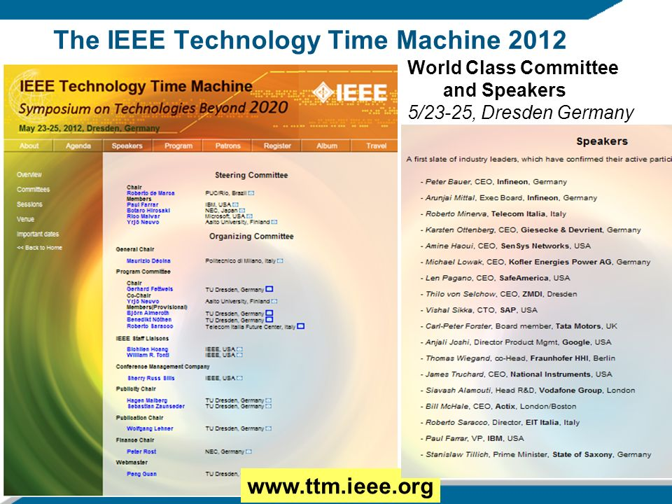 2/8/201416 The IEEE Technology Time Machine 2012 www.ttm.ieee.org World Class Committee and Speakers 5/23-25, Dresden Germany