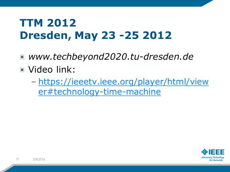 TTM 2012 Dresden, May 23 -25 2012 www.techbeyond2020.tu-dresden.de Video link: –https://ieeetv.ieee.org/player/html/view er#technology-time-machinehtt