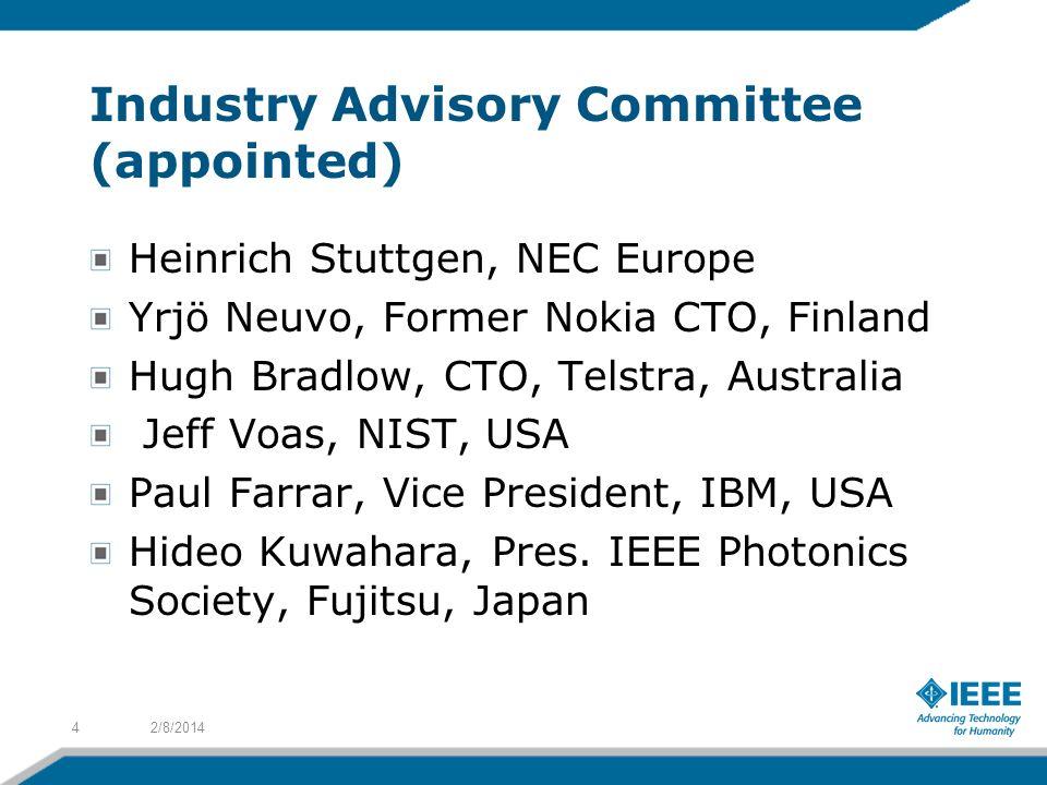 Industry Advisory Committee (appointed) Heinrich Stuttgen, NEC Europe Yrjö Neuvo, Former Nokia CTO, Finland Hugh Bradlow, CTO, Telstra, Australia Jeff