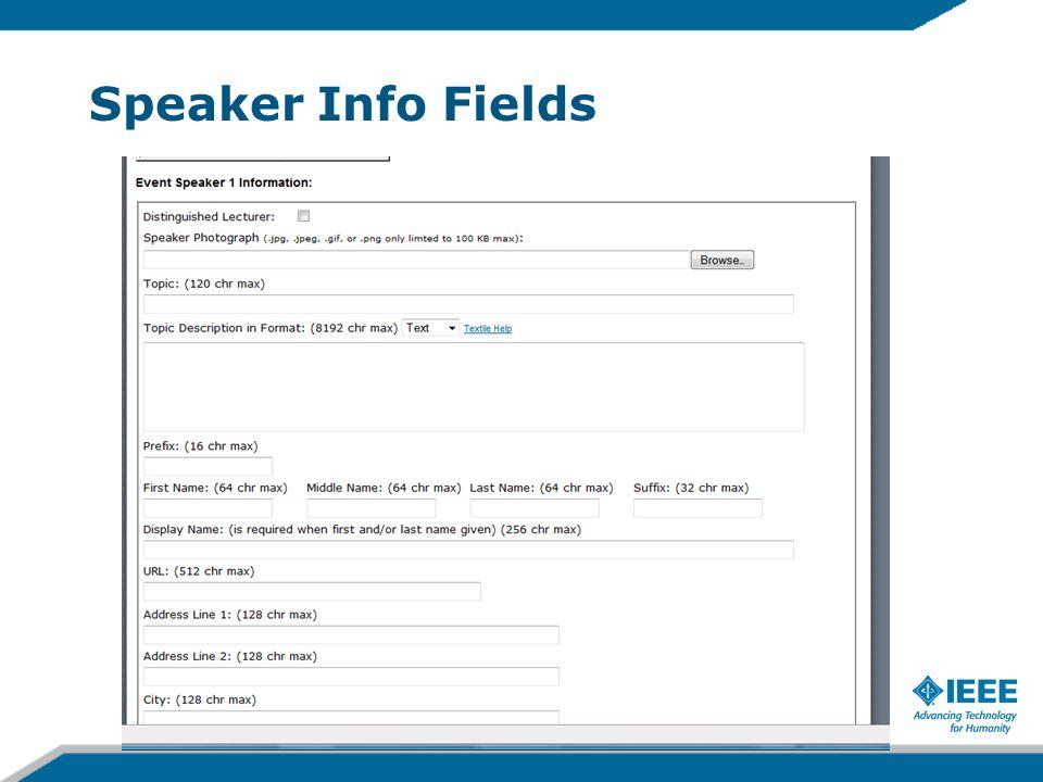 Speaker Info Fields