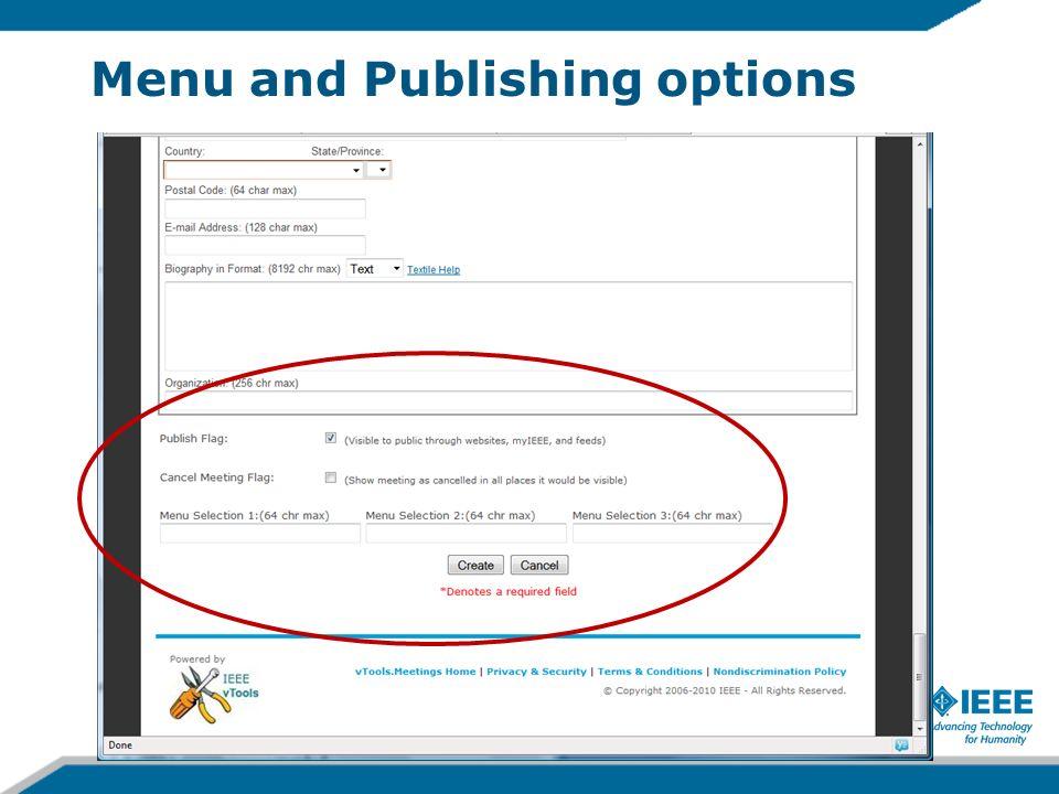 Menu and Publishing options