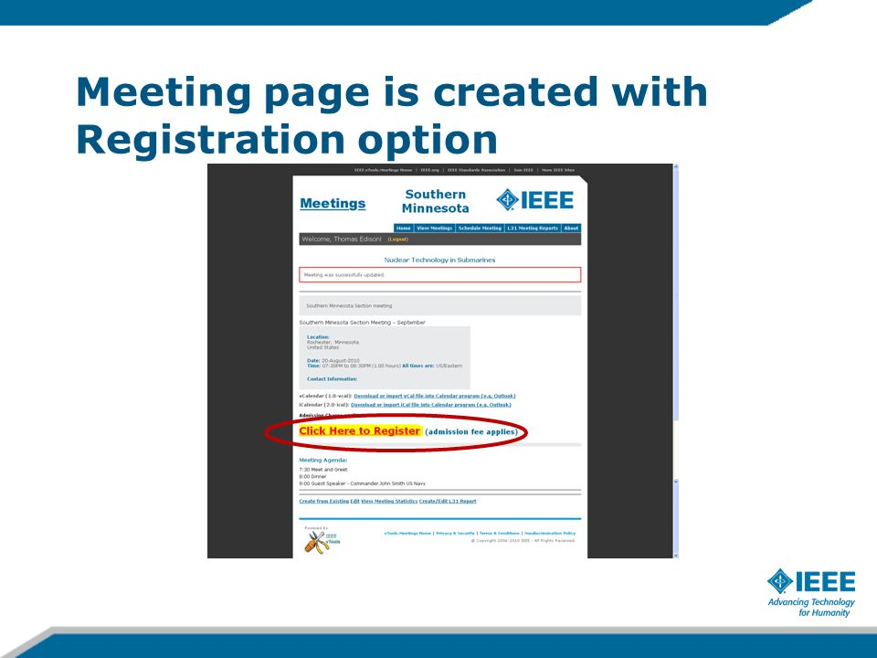 Meeting page is created with Registration option