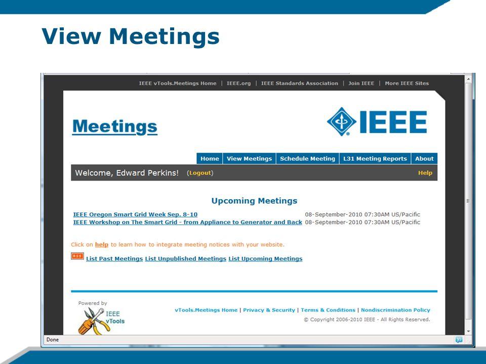 View Meetings