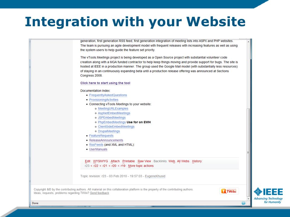 Integration with your Website