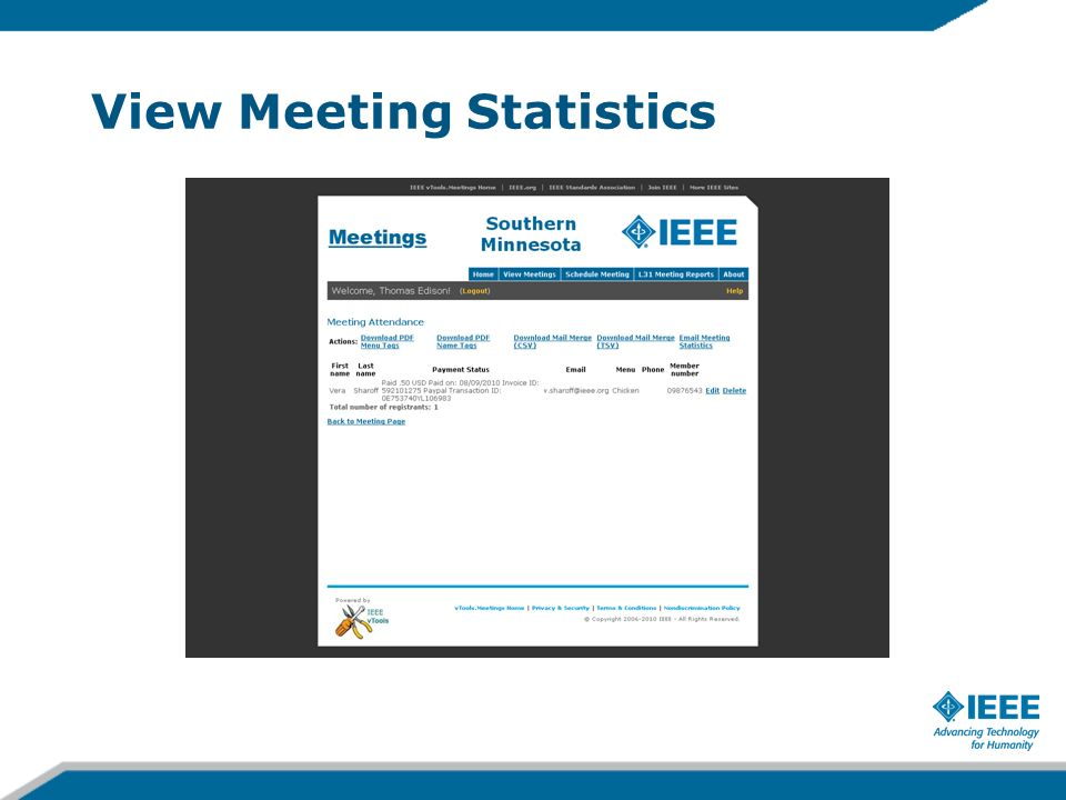 View Meeting Statistics
