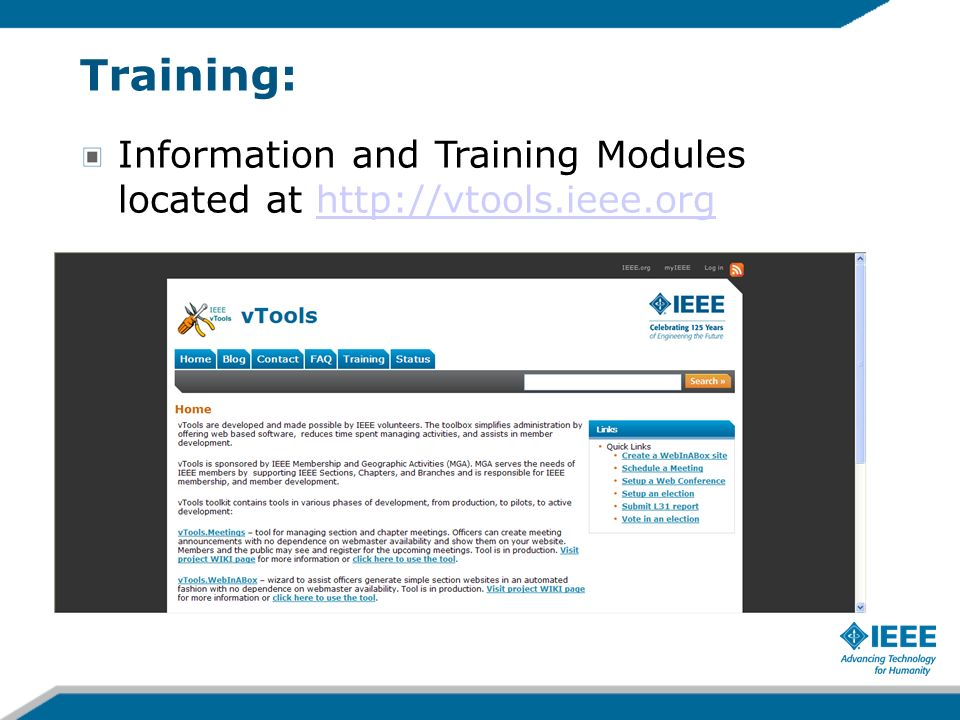 Training: Information and Training Modules located at