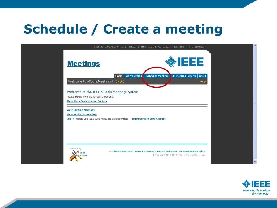 Schedule / Create a meeting
