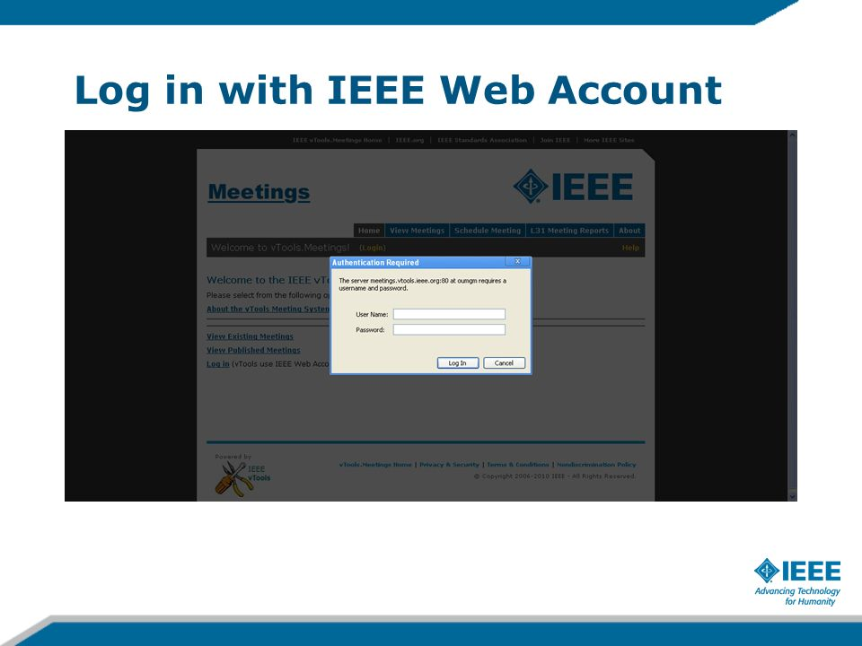Log in with IEEE Web Account