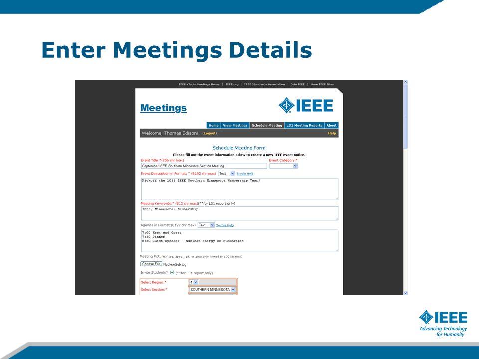 Enter Meetings Details