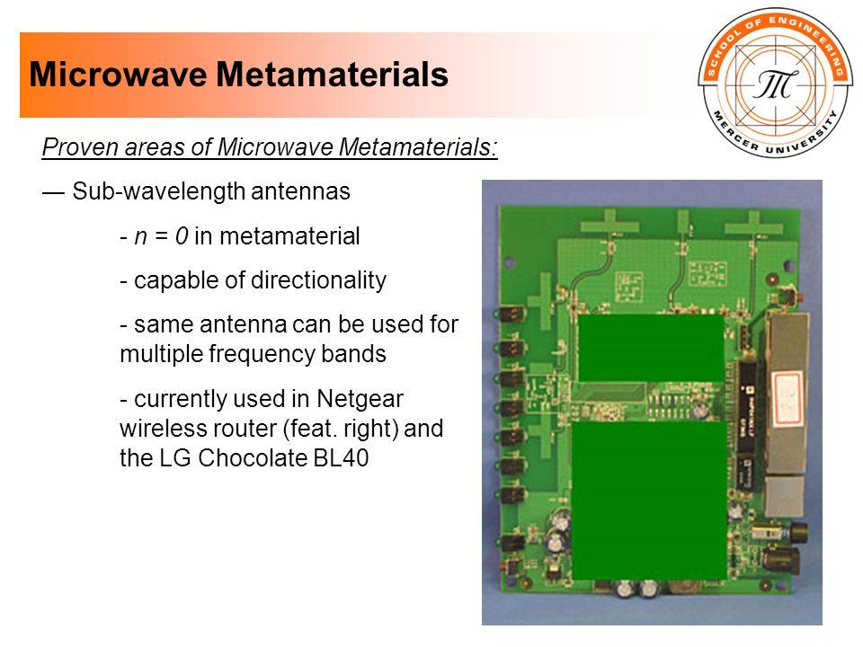 Microwave Metamaterials Proven areas of Microwave Metamaterials: Sub-wavelength antennas - n = 0 in metamaterial - capable of directionality - same an