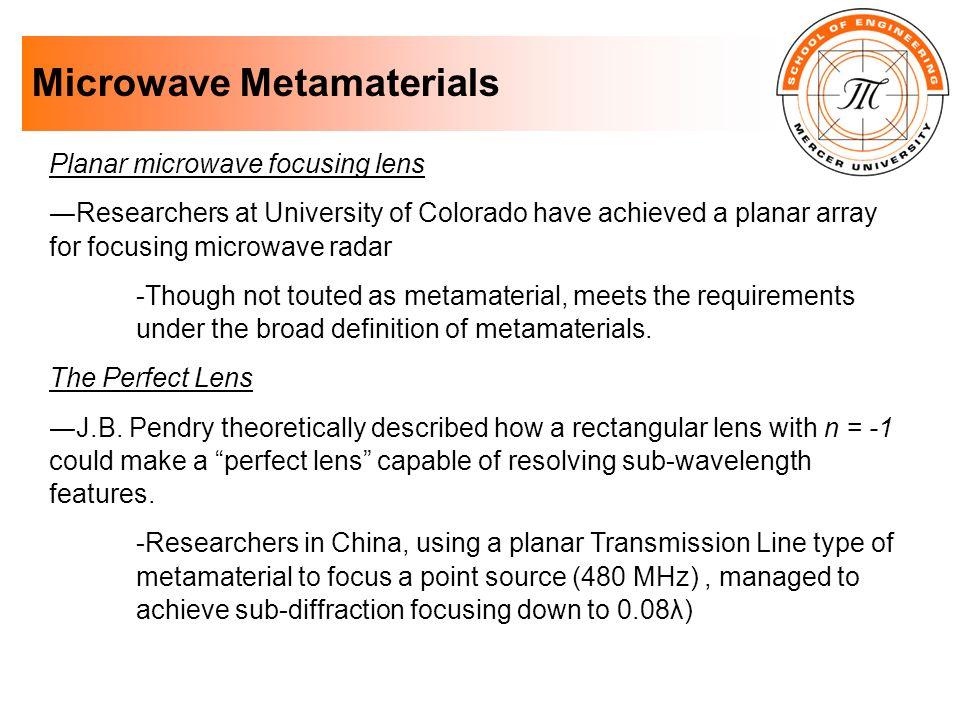 Microwave Metamaterials Planar microwave focusing lens Researchers at University of Colorado have achieved a planar array for focusing microwave radar