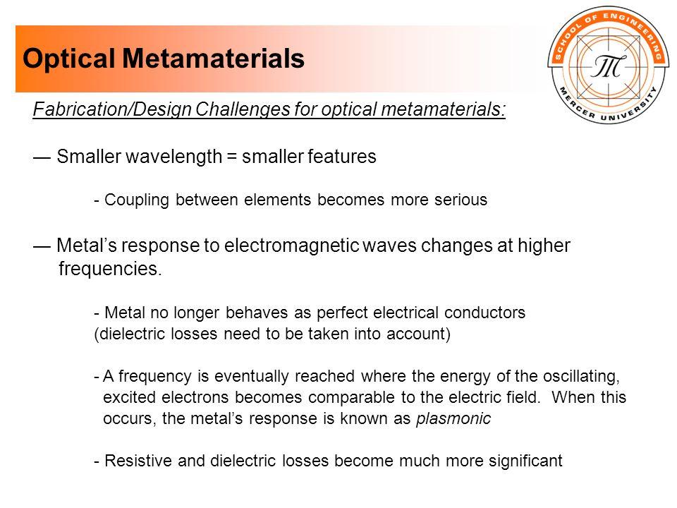 Optical Metamaterials Fabrication/Design Challenges for optical metamaterials: Smaller wavelength = smaller features - Coupling between elements becom