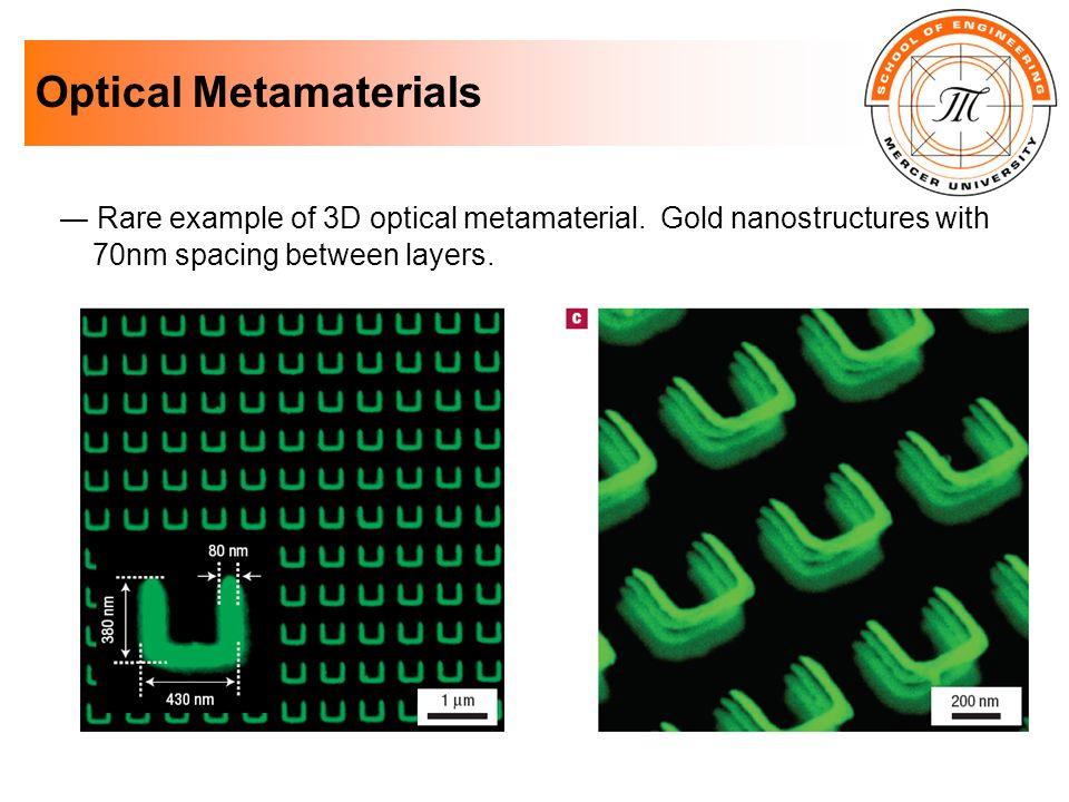 Optical Metamaterials Rare example of 3D optical metamaterial. Gold nanostructures with 70nm spacing between layers.