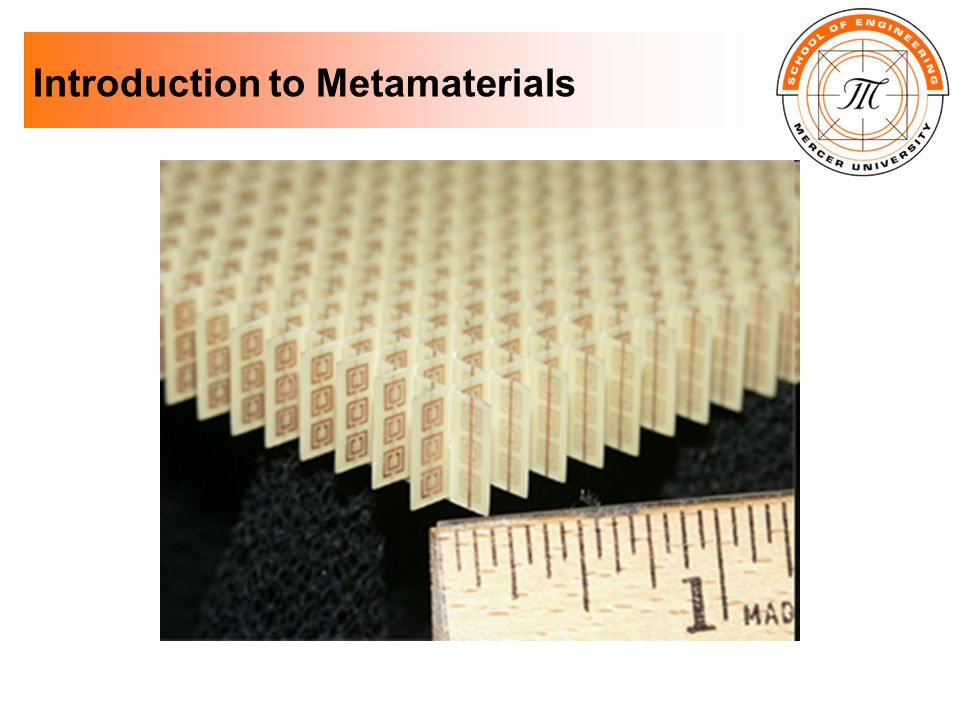 Microwave Metamaterials Tuneable metamaterials: Consider a 2-D metamaterial, with series capacitance to affect its EM response - This capacitance can be tuned via ferroelectric varactors, affecting the index of refraction of the material The size of the split in SRRs can also be adjusted, from fully closed to fully open (see Fig.