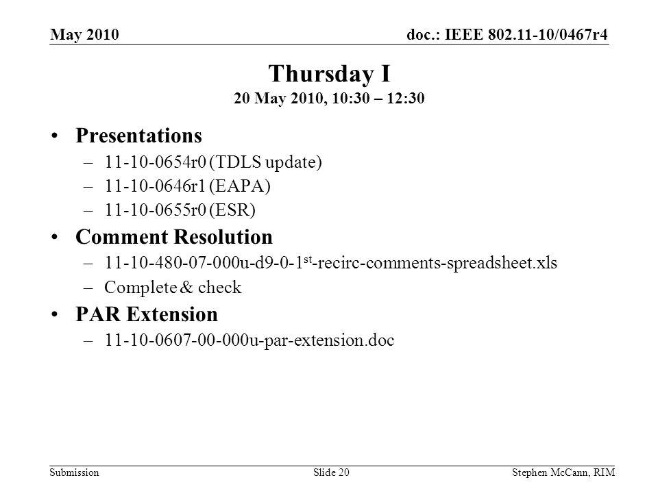 doc.: IEEE 802.11-10/0467r4 Submission May 2010 Stephen McCann, RIMSlide 20 Thursday I 20 May 2010, 10:30 – 12:30 Presentations –11-10-0654r0 (TDLS update) –11-10-0646r1 (EAPA) –11-10-0655r0 (ESR) Comment Resolution –11-10-480-07-000u-d9-0-1 st -recirc-comments-spreadsheet.xls –Complete & check PAR Extension –11-10-0607-00-000u-par-extension.doc