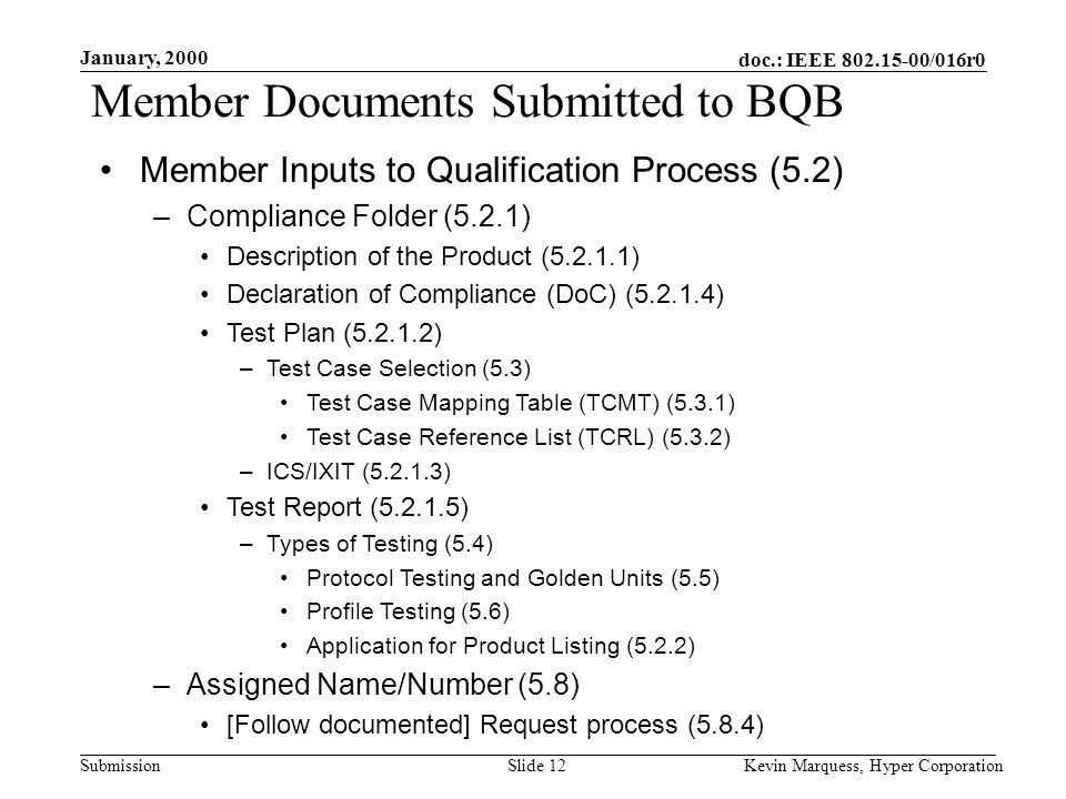 doc.: IEEE 802.15-00/016r0 Submission January, 2000 Kevin Marquess, Hyper CorporationSlide 12 Member Documents Submitted to BQB Member Inputs to Quali