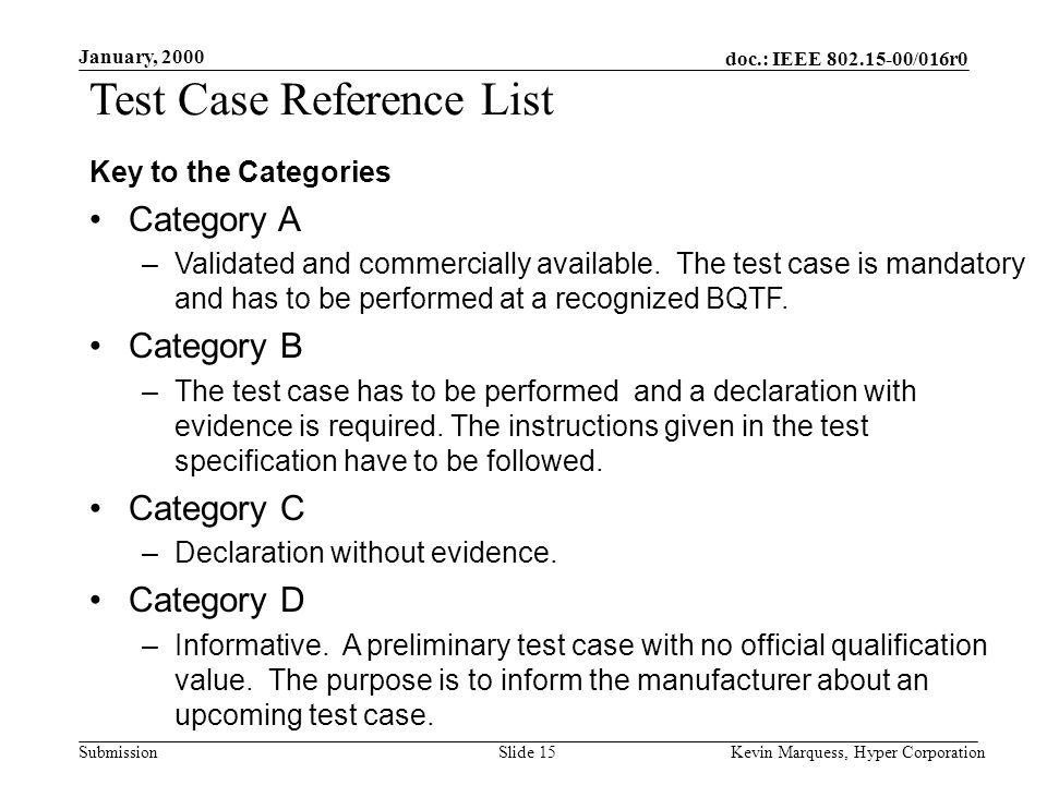 doc.: IEEE 802.15-00/016r0 Submission January, 2000 Kevin Marquess, Hyper CorporationSlide 15 Test Case Reference List Key to the Categories Category A –Validated and commercially available.