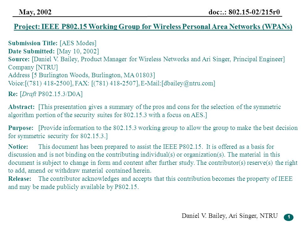 1 May, 2002 doc:.: 802.15-02/215r0 Daniel V. Bailey, Ari Singer, NTRU 1 Project: IEEE P802.15 Working Group for Wireless Personal Area Networks (WPANs
