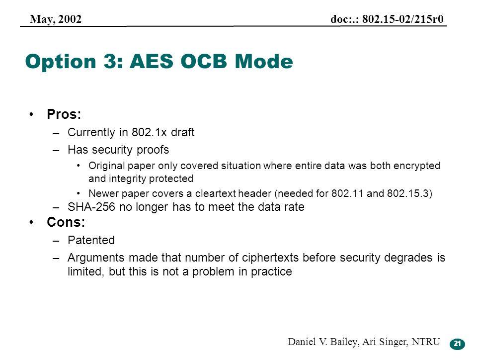 21 May, 2002 doc:.: 802.15-02/215r0 Daniel V. Bailey, Ari Singer, NTRU 21 Option 3: AES OCB Mode Pros: –Currently in 802.1x draft –Has security proofs