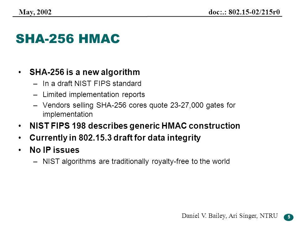 5 May, 2002 doc:.: 802.15-02/215r0 Daniel V. Bailey, Ari Singer, NTRU 5 SHA-256 HMAC SHA-256 is a new algorithm –In a draft NIST FIPS standard –Limite