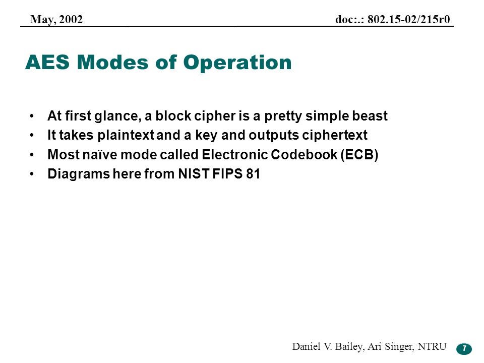 7 May, 2002 doc:.: 802.15-02/215r0 Daniel V. Bailey, Ari Singer, NTRU 7 AES Modes of Operation At first glance, a block cipher is a pretty simple beas
