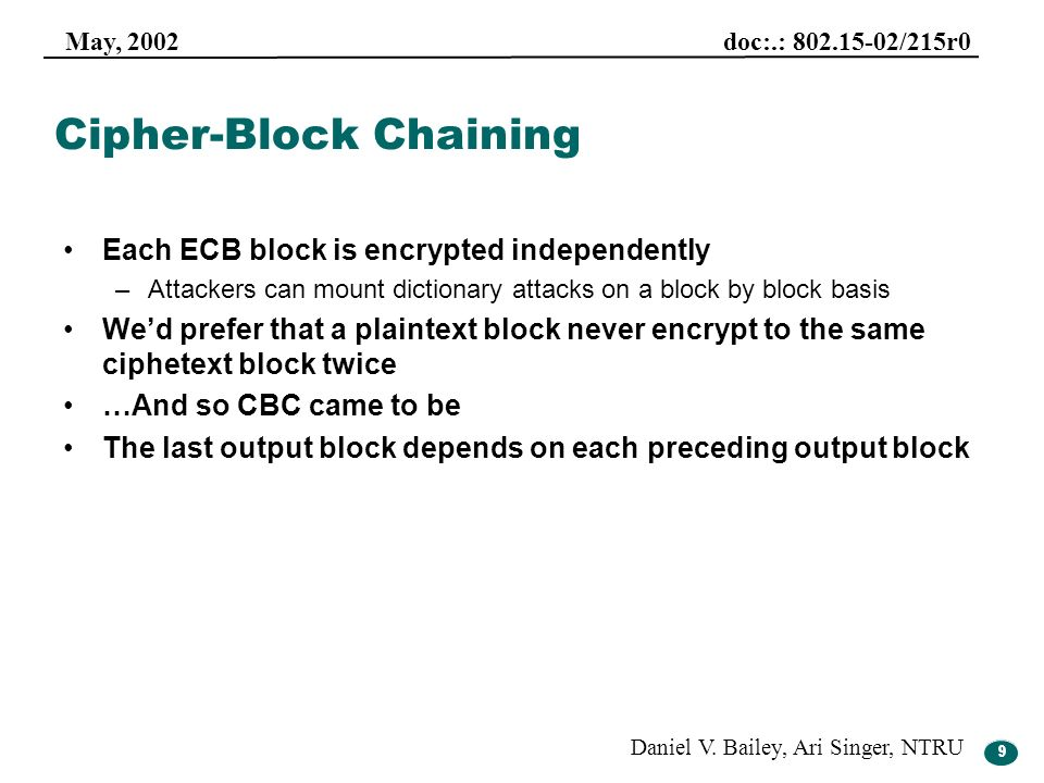 9 May, 2002 doc:.: 802.15-02/215r0 Daniel V. Bailey, Ari Singer, NTRU 9 Cipher-Block Chaining Each ECB block is encrypted independently –Attackers can