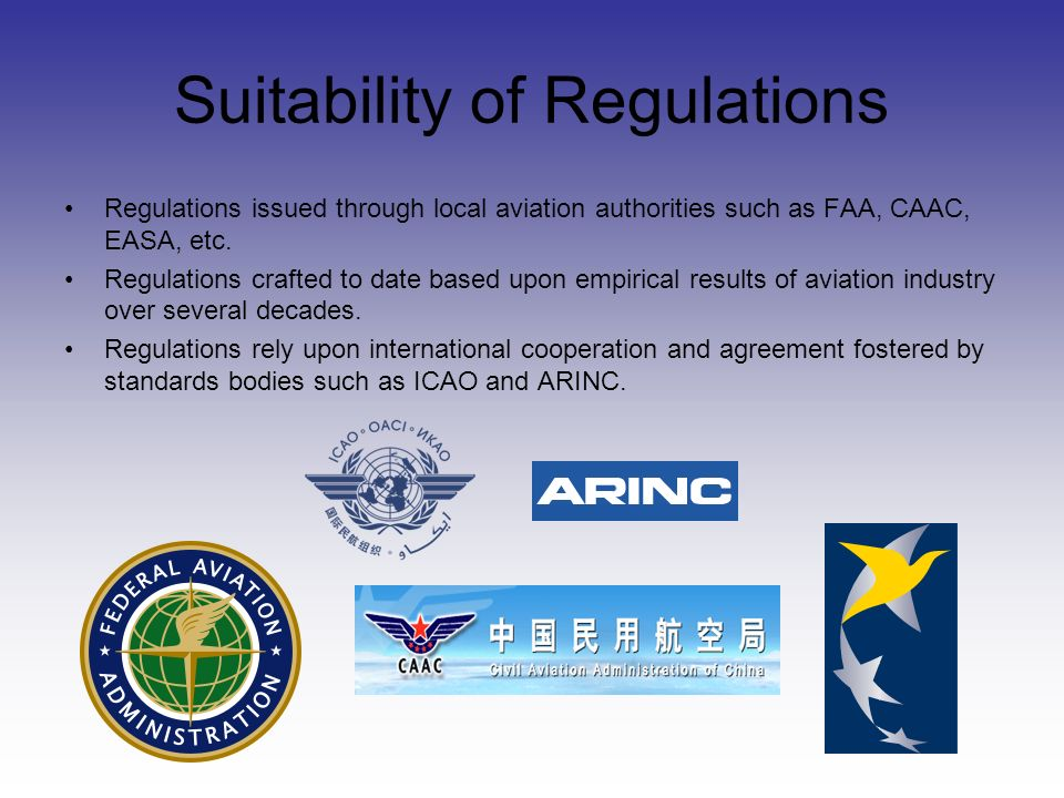Suitability of Regulations Regulations issued through local aviation authorities such as FAA, CAAC, EASA, etc.