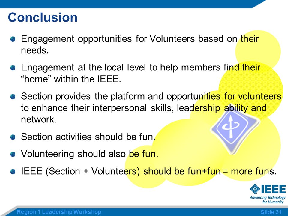 Region 1 Leadership Workshop Slide 31 Conclusion Engagement opportunities for Volunteers based on their needs.