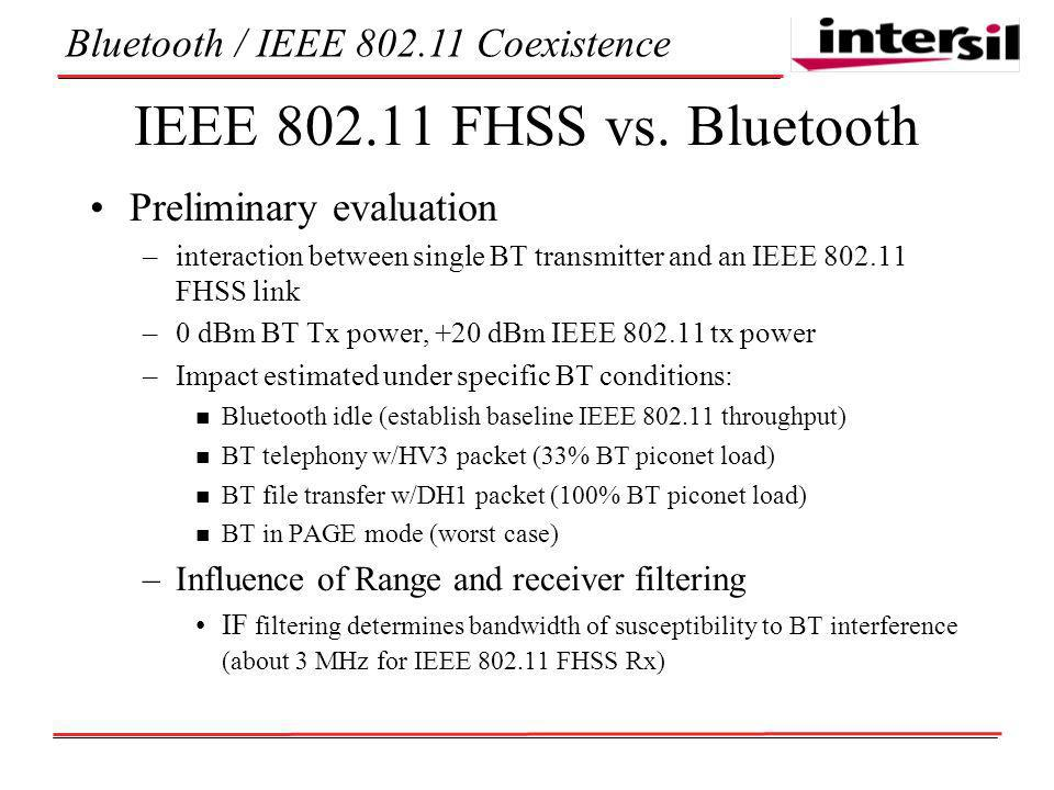 Bluetooth / IEEE Coexistence IEEE FHSS vs.