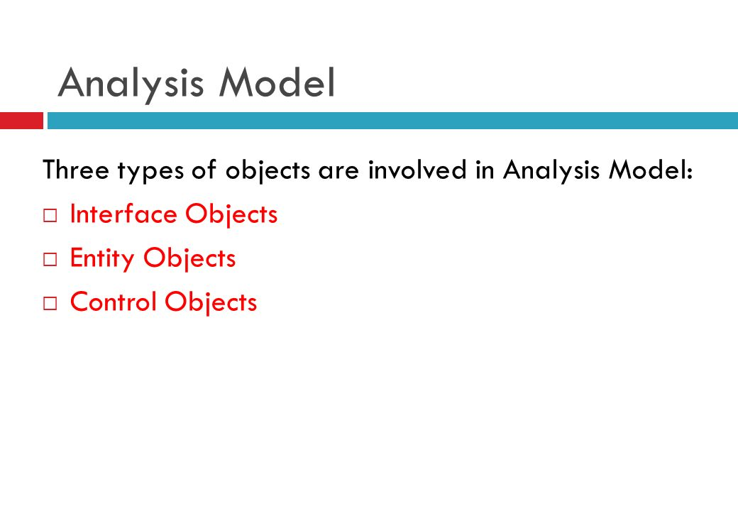 Analysis Model Three types of objects are involved in Analysis Model: Interface Objects Entity Objects Control Objects