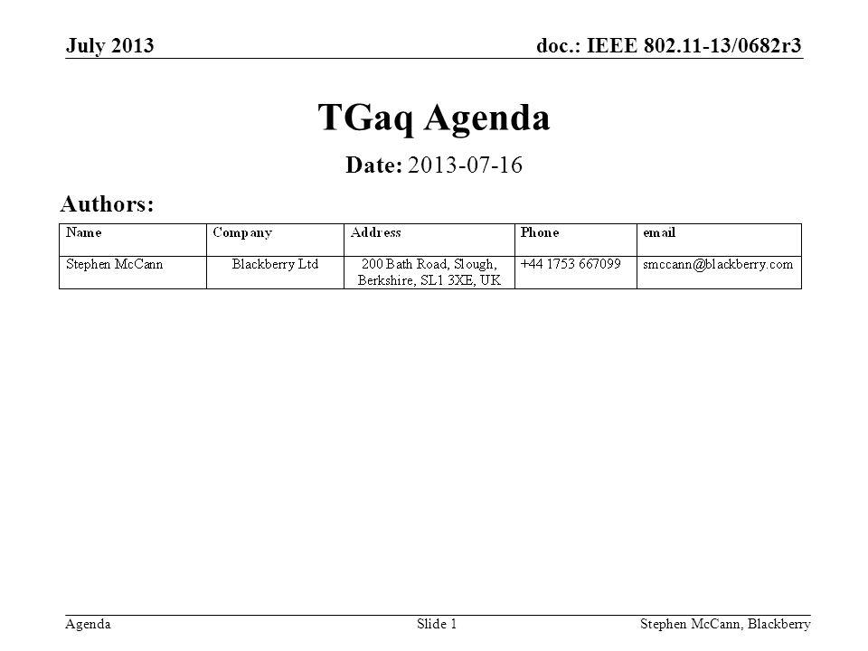 doc.: IEEE 802.11-13/0682r3 Agenda July 2013 Stephen McCann, BlackberrySlide 1 TGaq Agenda Date: 2013-07-16 Authors: