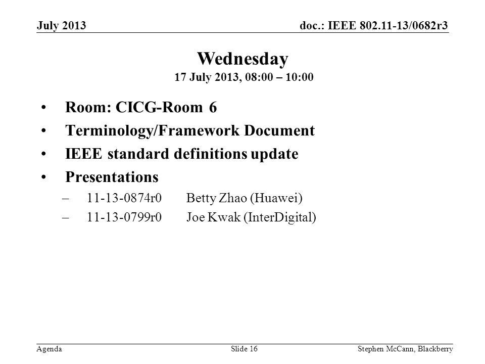 doc.: IEEE 802.11-13/0682r3 Agenda July 2013 Stephen McCann, BlackberrySlide 16 Room: CICG-Room 6 Terminology/Framework Document IEEE standard definitions update Presentations –11-13-0874r0Betty Zhao (Huawei) –11-13-0799r0Joe Kwak (InterDigital) Wednesday 17 July 2013, 08:00 – 10:00