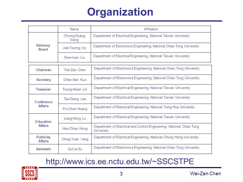 3 Wei-Zen Chen Organization NameAffiliation Advisory Board Chorng-Kuang Wang Department of Electrical Engineering, National Taiwan University Jieh-Tso