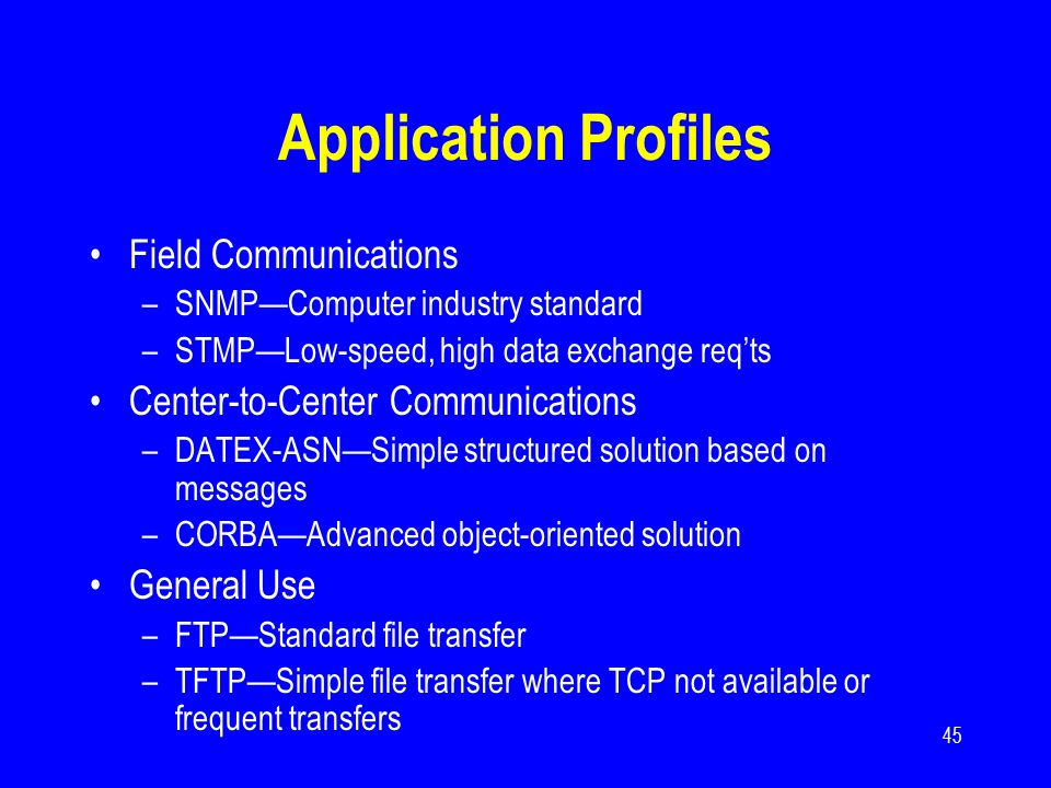 45 Application Profiles Field Communications –SNMPComputer industry standard –STMPLow-speed, high data exchange reqts Center-to-Center Communications